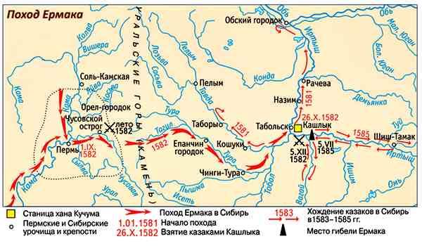 Картинки по запросу поход ермака в сибирь карта