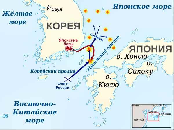 Цусимское сражение - карта