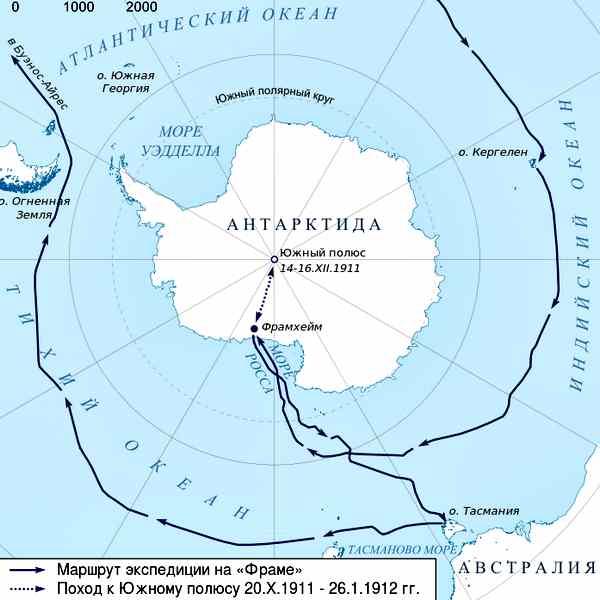 Карта антарктической экспедиции Амундсена