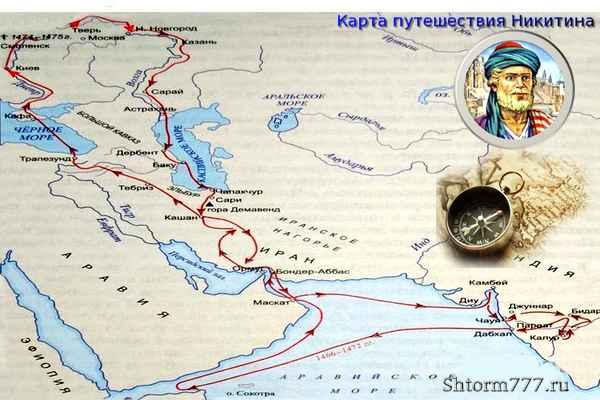 Карта путешествия А. Никитина