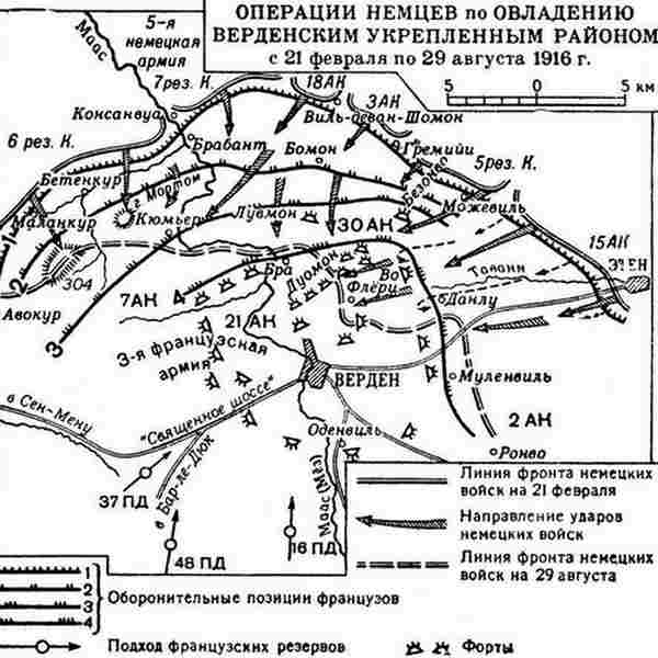 Карта битвы при Вердене