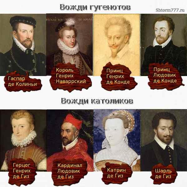 Предводители католиков и гугенотов