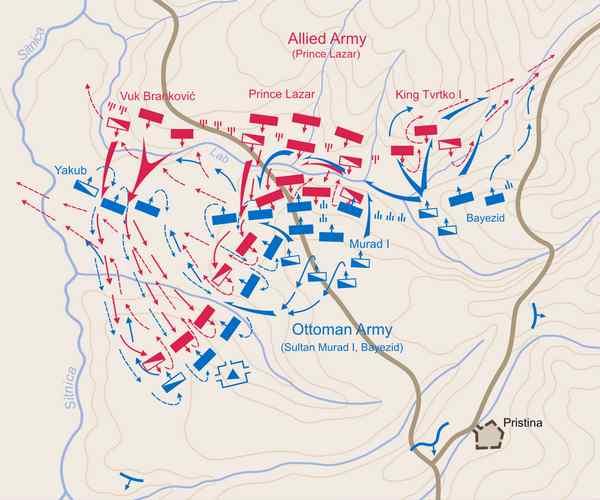 Битва на Косовом поле карта битвы