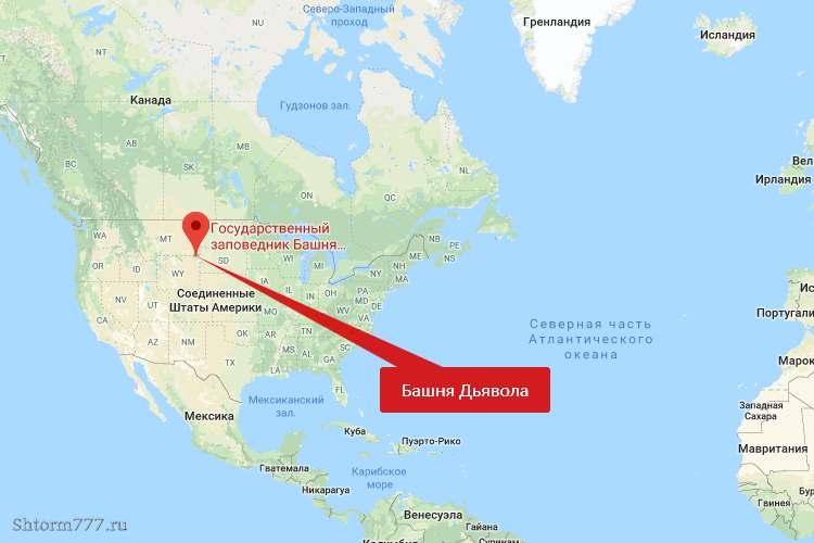 Девилс-Тауэр, на карте