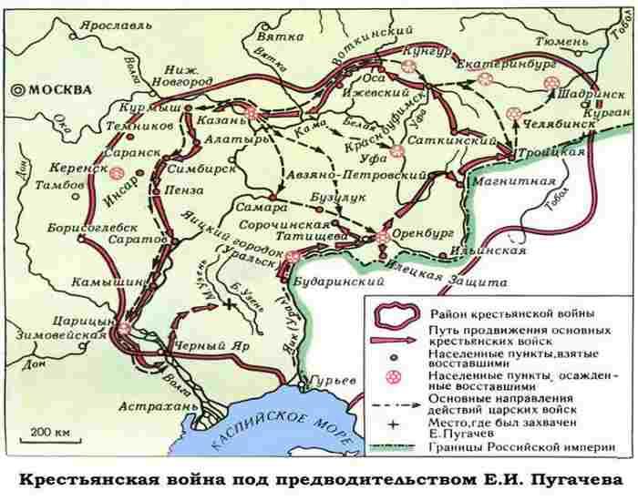 Карта восстания Пугачева