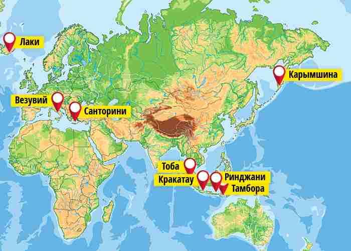 Вулкан Кракатау на карте
