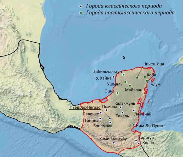 Древние Майя, карта