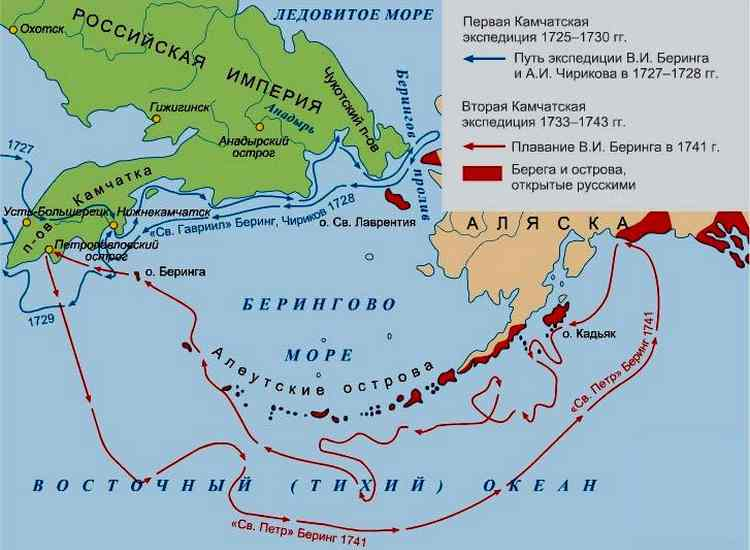 Витус Ионассен Беринг, карта