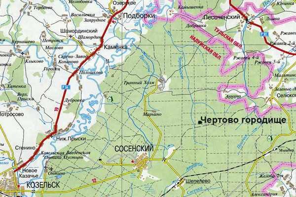 Чертово городище, Калужская область карта