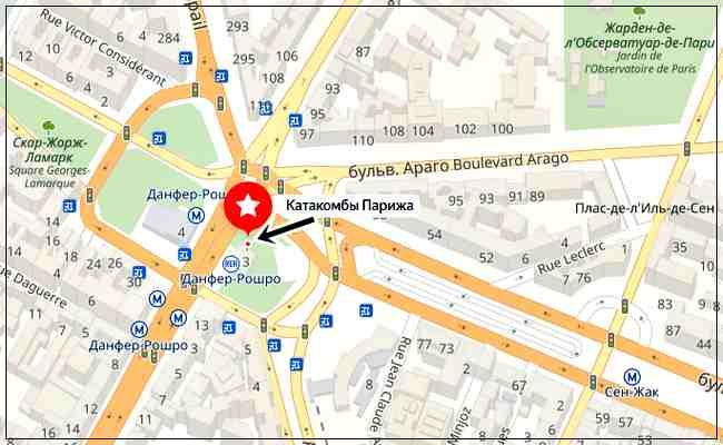 Парижские катакомбы, карта