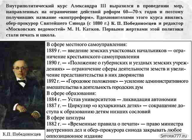 Александр 3 и его контрреформы (3)