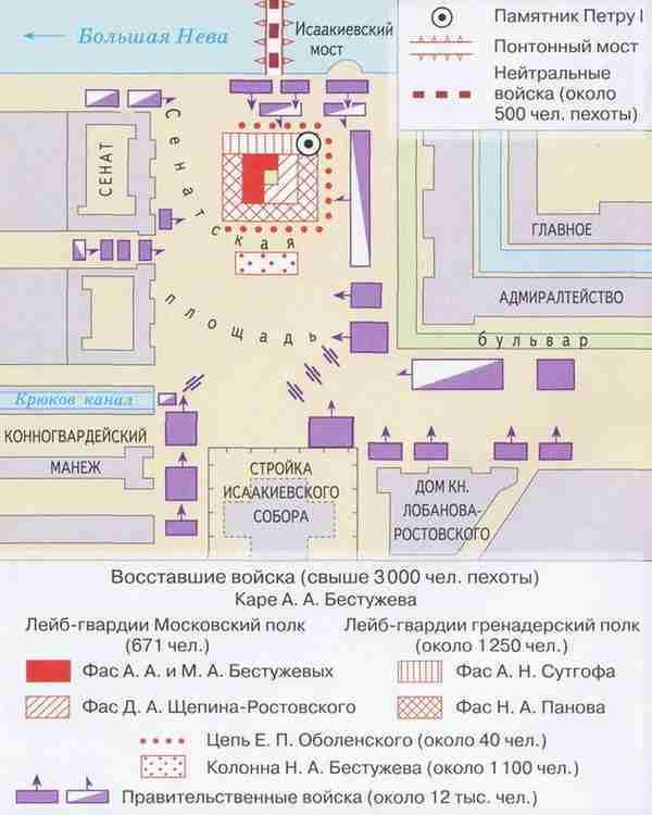 Восстание декабристов, карта