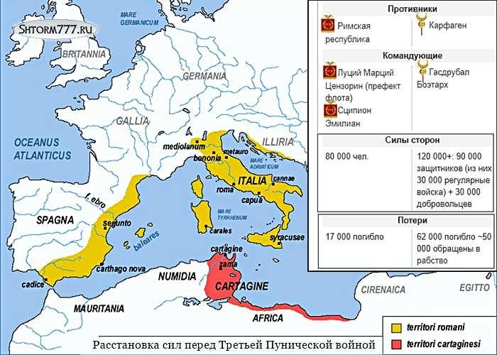Третья Пуническая война. Карта