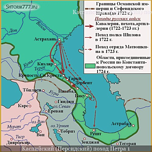 Каспийский поход Петра 1 карта