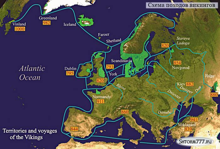 Схема походов викингов