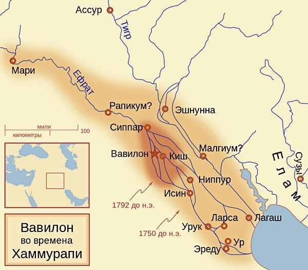 Карта Вавилона при Хаммурапи